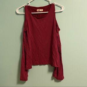 Red Bell Sleeve Cold Shoulder Rop